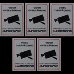 Videoovervågningskilt selvklæbende 5 stk. pakke